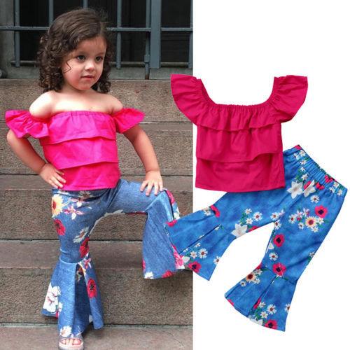 b8623a15b 2018 2Pcs Little Girl Off Shoulder Floral Clothing Set Toddler Baby Kids  Girl Clothes Off-Shoulder Top Tank +Long Pants Outfit