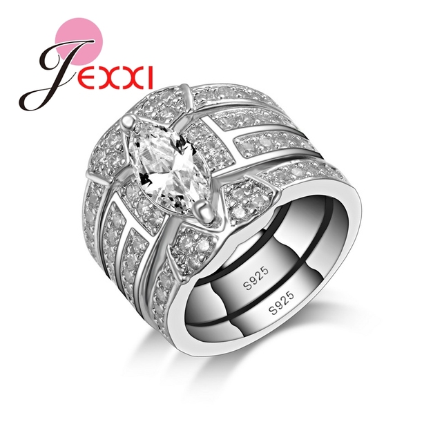 JEXXI Fashion Vintage Wedding Engagement Rings Sets For Women 3 Pieces  White Cubic Zirconia 925 Sterling