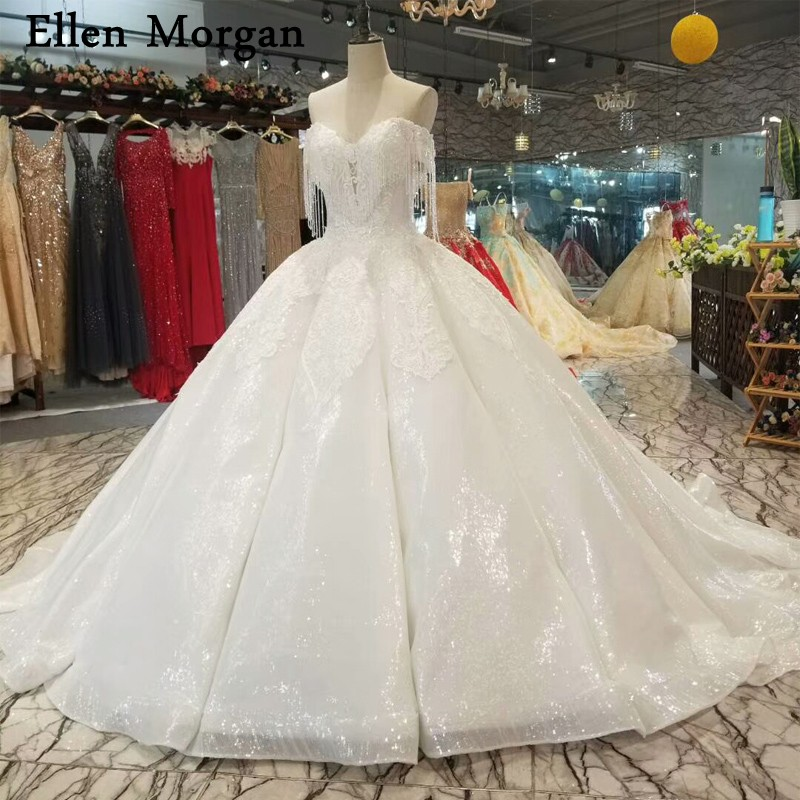 Glitter Fabric Ball Gowns Wedding Dresses 2018 Lace Custom Made Lace
