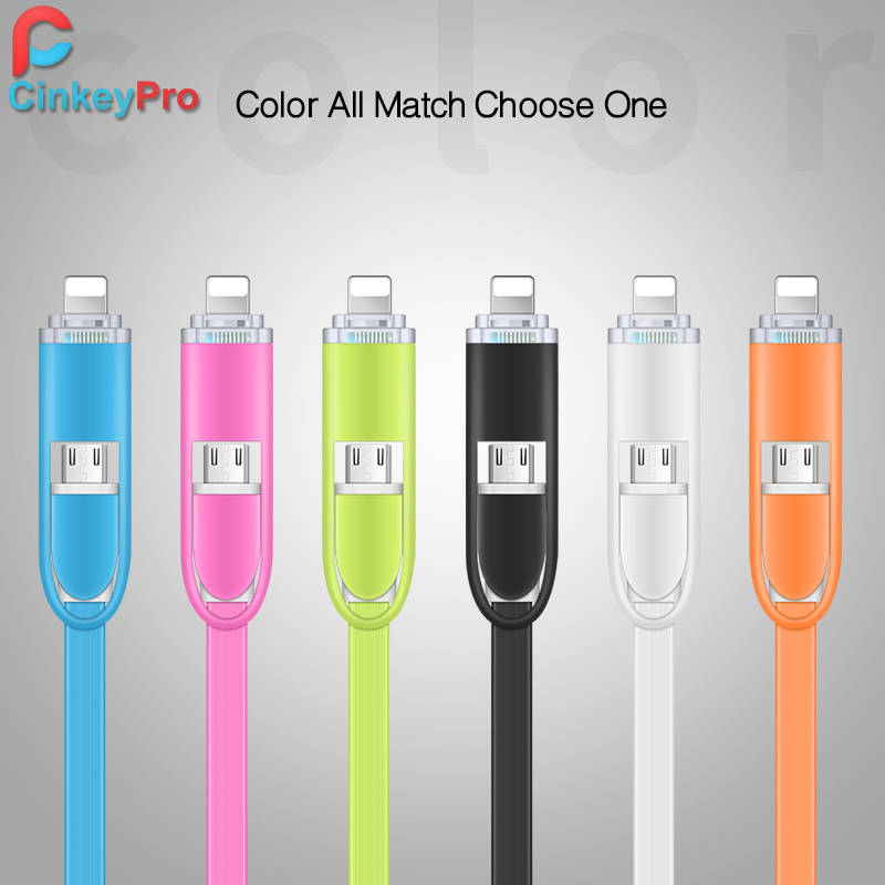 CinkeyPro LED Light 2in1 1M Charging Mobile Phone Cables For iPhone 5 5S 6 Charger ios Data Micro USB Cable For Samsung Android