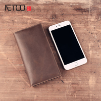 AETOO new fashion Split leather long wallets men women vintage cell phone wallets 5.5 inch phone Vintage wallet