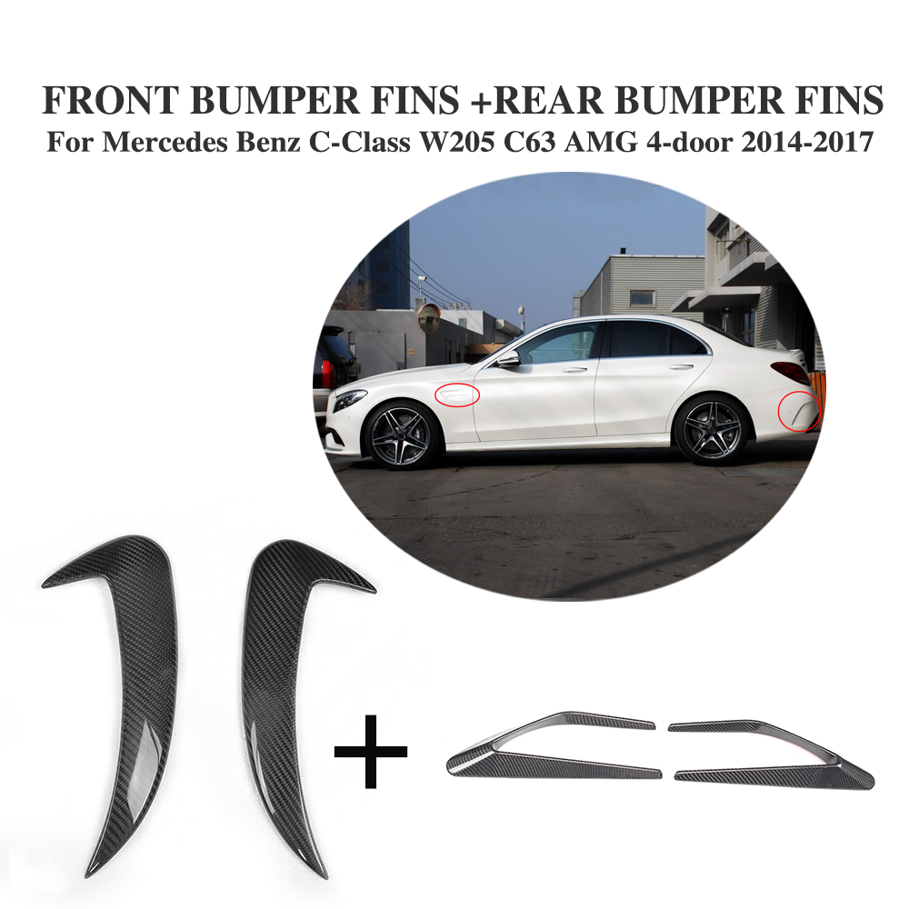 4PCS Carbon Fiber Front Fenders decorative Trims and Rear Fins Splitters for Mercedes Benz C-Class W205 C63 AMG 4Door 2014-2017