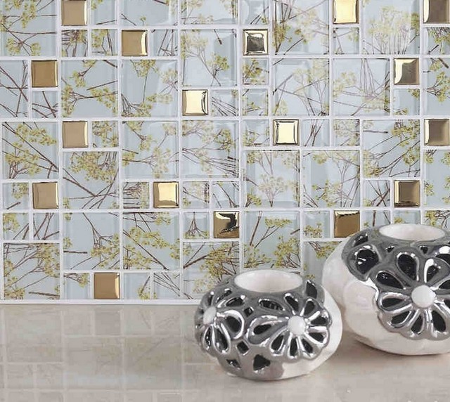 Online Shop Vetro trasparente misto d\'oro mosaico piastrelle cucina ...