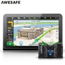(Rusia Almacén) 7 pulgadas de Coches de Navegación GPS Android Retrovisor Contra Detector de Radar DVR Del Coche Camión vehículo Gps AV-IN Tablet PC 16 GB