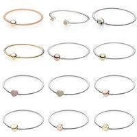 Rose Gold MOMENTS Mesh Bangle Love Heart Two Tone Signature Open Bangle Fit Pandora Bracelet 925