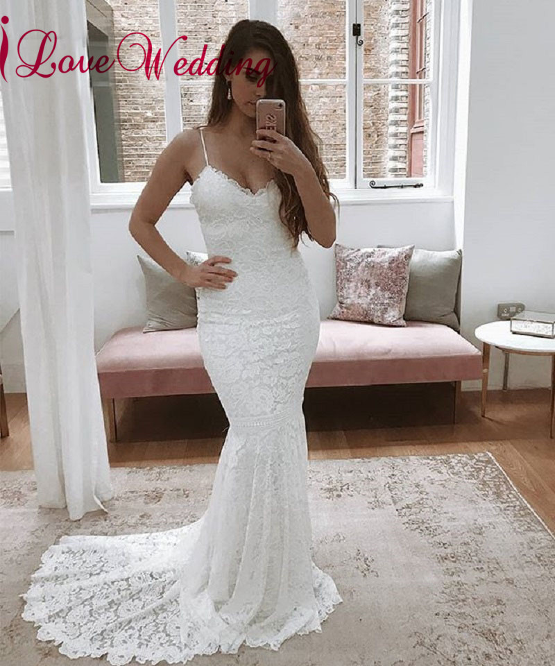 Boho De Maß Back Novia 2019 Nach V ausschnitt Kleider Sexy Vestido Hochzeit Open Lace Meerjungfrau Brautkleider xvfwqtOn8F