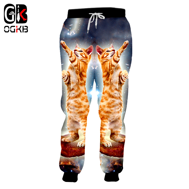 OGKB New Harajuku Men's Galaxy Space Cat Printed 3d Sweatpants Fall Winter Loose Joggers Haren Pants Full Length Pants Dropship