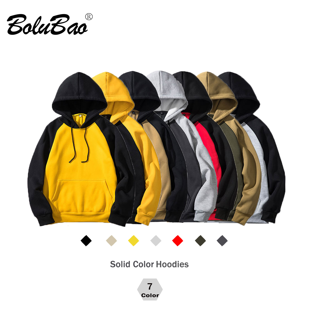BOLUBAO Brand Streetwear Patchwork Hoodie Men Hip Hop Hooded Solid Slim Fit Casual Hoody Mens Hoodies Sweatshirts EU Size
