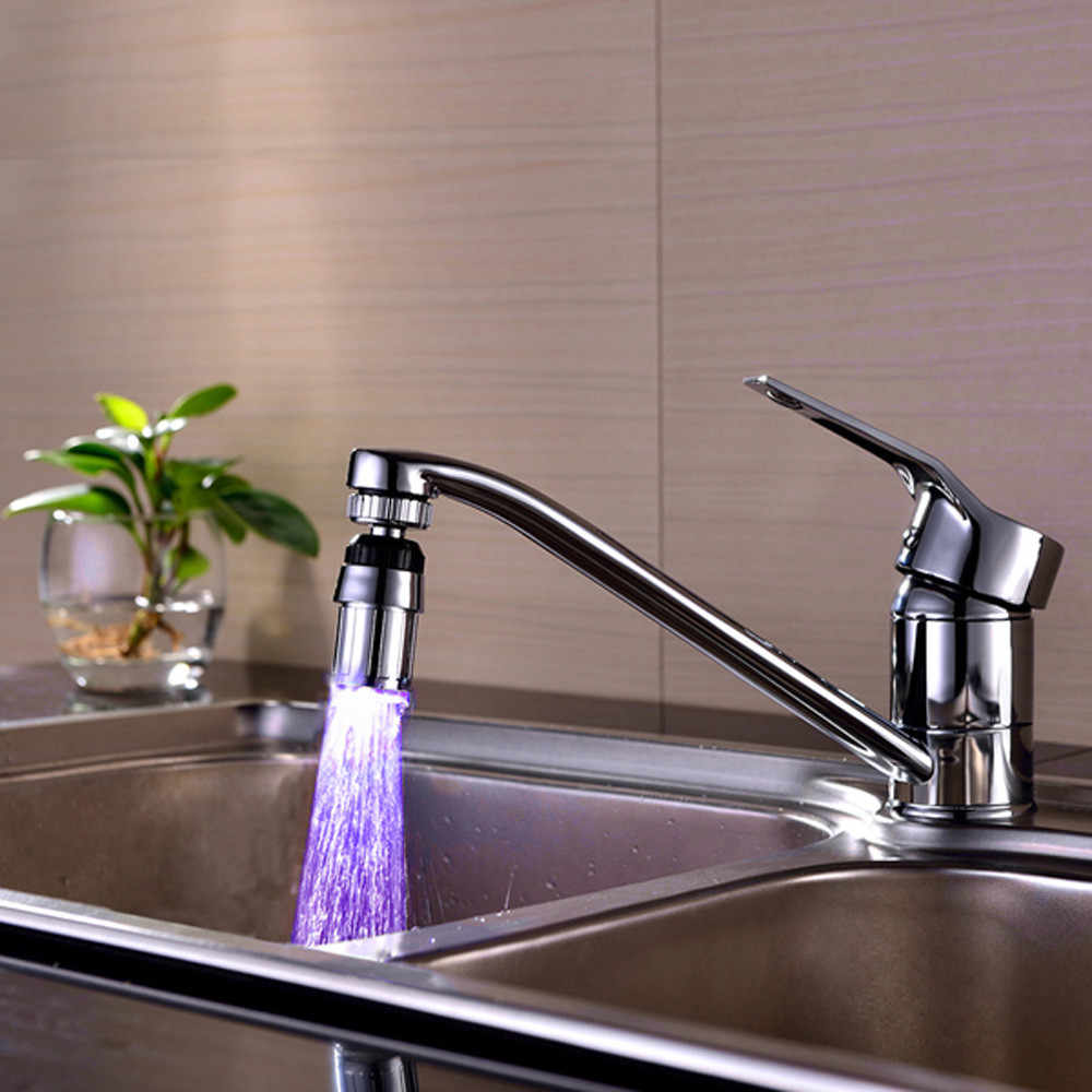 2017新しいキッチンシンク7カラーチェンジ水グロー水流シャワーled蛇口タップライトキッチンアクセサリードロップシッピングJy18