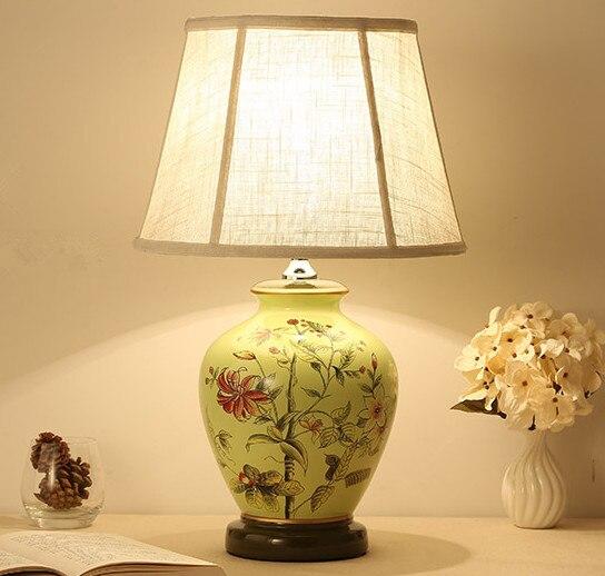 ჱNouveau style Chinois fleur en céramique Lampes De Table art