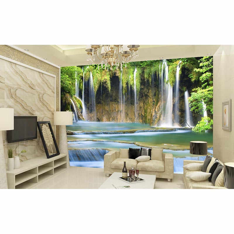 Custom 3D printing wallpapers background living Bedding room Modern home Decora Beautiful Waterfall mural de parede Good #109