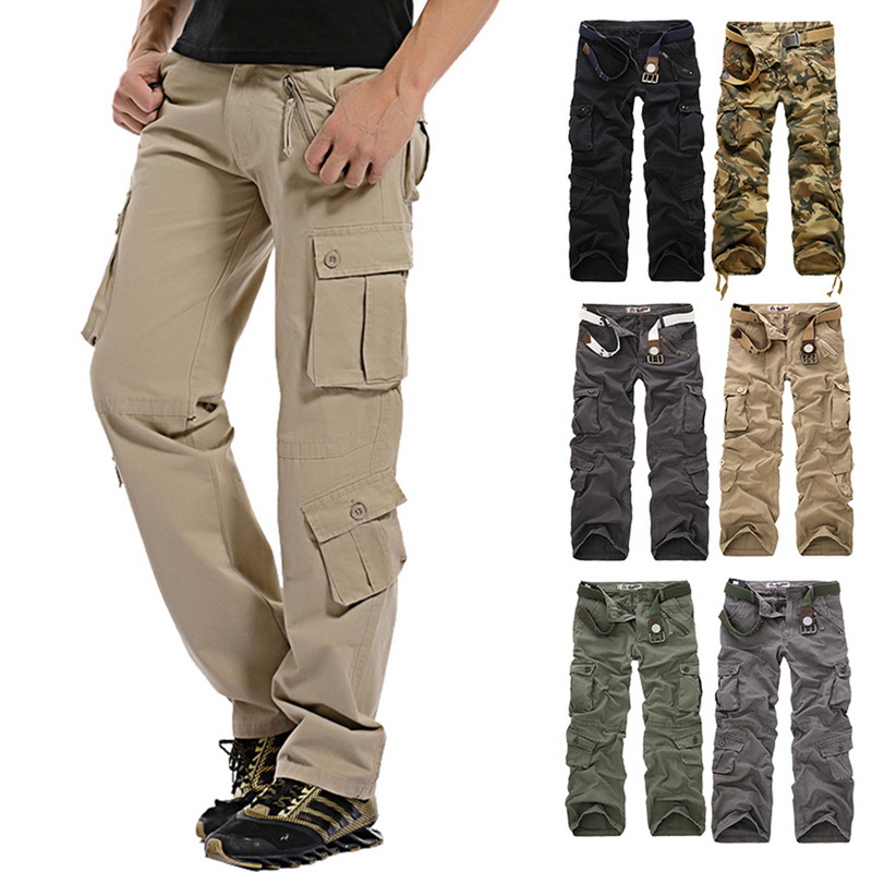 NIBESSER 2018 Men's Military Camouflage Pants Loose Multi-Pocket Men Casual Cotton Straight Overalls Male Workout Trousers