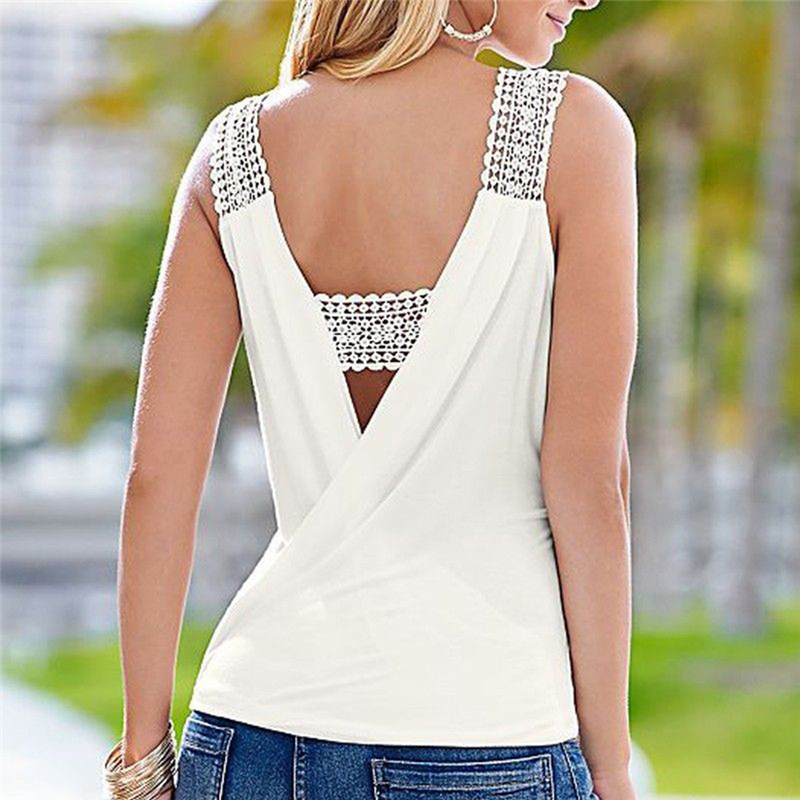 Backless Deep V Neck Sleeveless Lace Crochet Strap Regular   Tank     Tops   Vest White Camisole Solid Women Crop   Tops