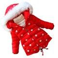 Children outerwear winter Mianfu Girl coat parkas thickening Female Warm Clothes Cartoon Dolls High Quality Overcoat red