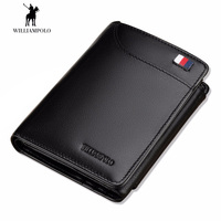 WilliamPOLO Brand Hight Genuine Leather Men Wallets Trifold Wallet Zip Coin Pocket Purse Soft Cow Leather Wallet Mens Card Purse