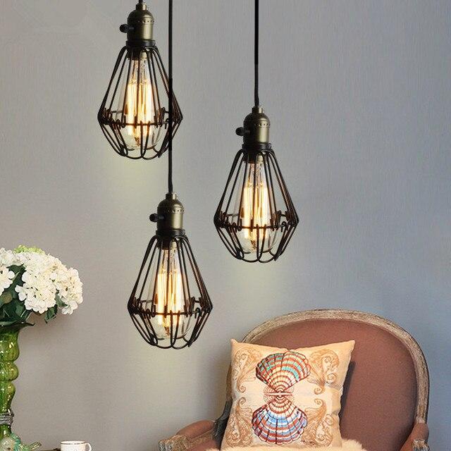 aliexpress : buy vintage iron black pendant light cage