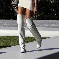 Летние Женские однотонные белые кожаные сапоги до бедра женские Сапоги выше колена сапоги гладиаторы на высоком каблуке Женская модельная