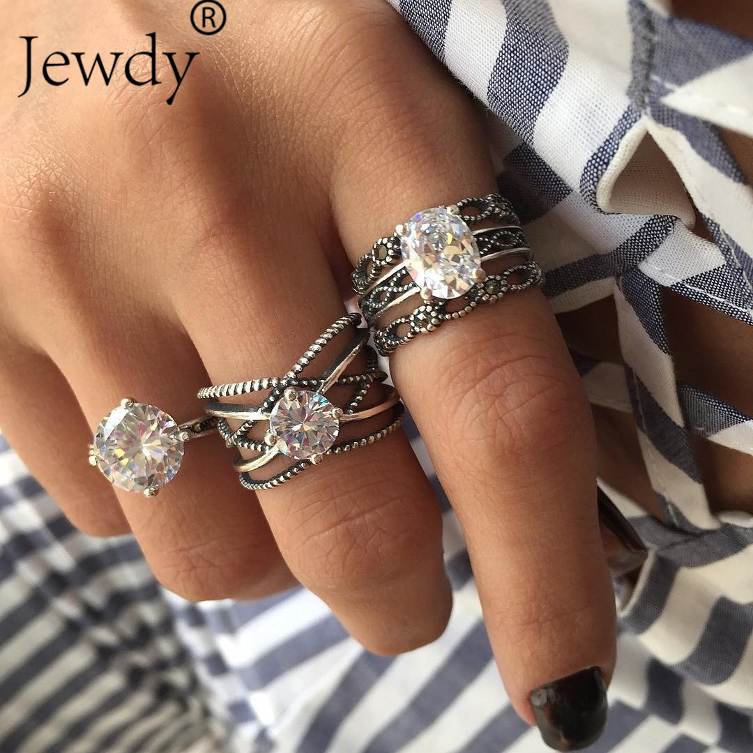 3Pcs/Set Big Crystal Wedding Rings Hollow Carved Statement Cubic Ziron Knuckle Rings Women Party Jewelry New Year Birthday Gift ...
