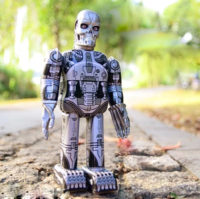 21cm Height Retro Skull Robot Tinplate Wind Up Toys Vintage Tin Toys For Children Vintage Handmade