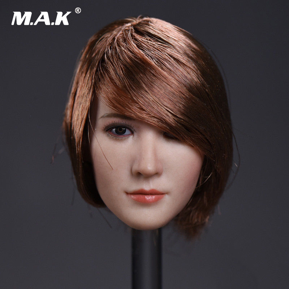 1:6 Scale Beauty Asia Female Head Sculpt Short Red Wine Hair Head Carving Fit 12 PH Female Pale Color Body Action Figure Doll 1 6 figure doll head shape for 12 action figure doll accessories batman joker red hair head carved not include body clothes