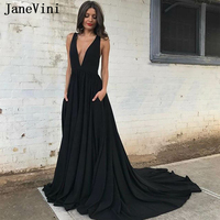 JaneVini Sexy Deep V Neck Long Prom Dresses with Pockets A Line Chiffon Court Train Open Back Black Women Prom Dress Gala Jurken