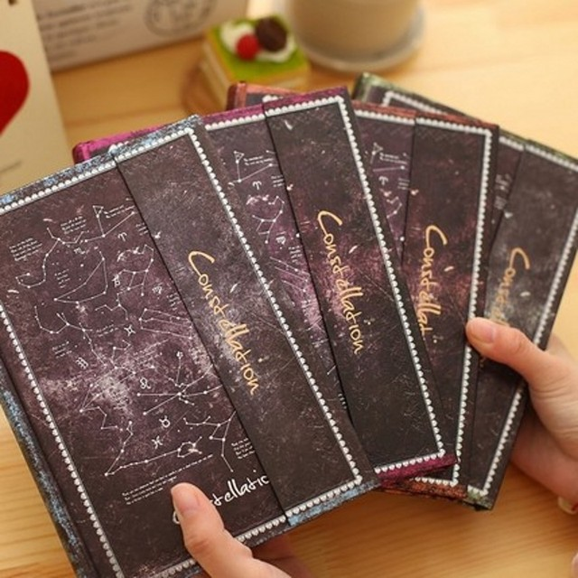 Classic Book Cover Diary : Creative constellation magnetic vintage notebook classic
