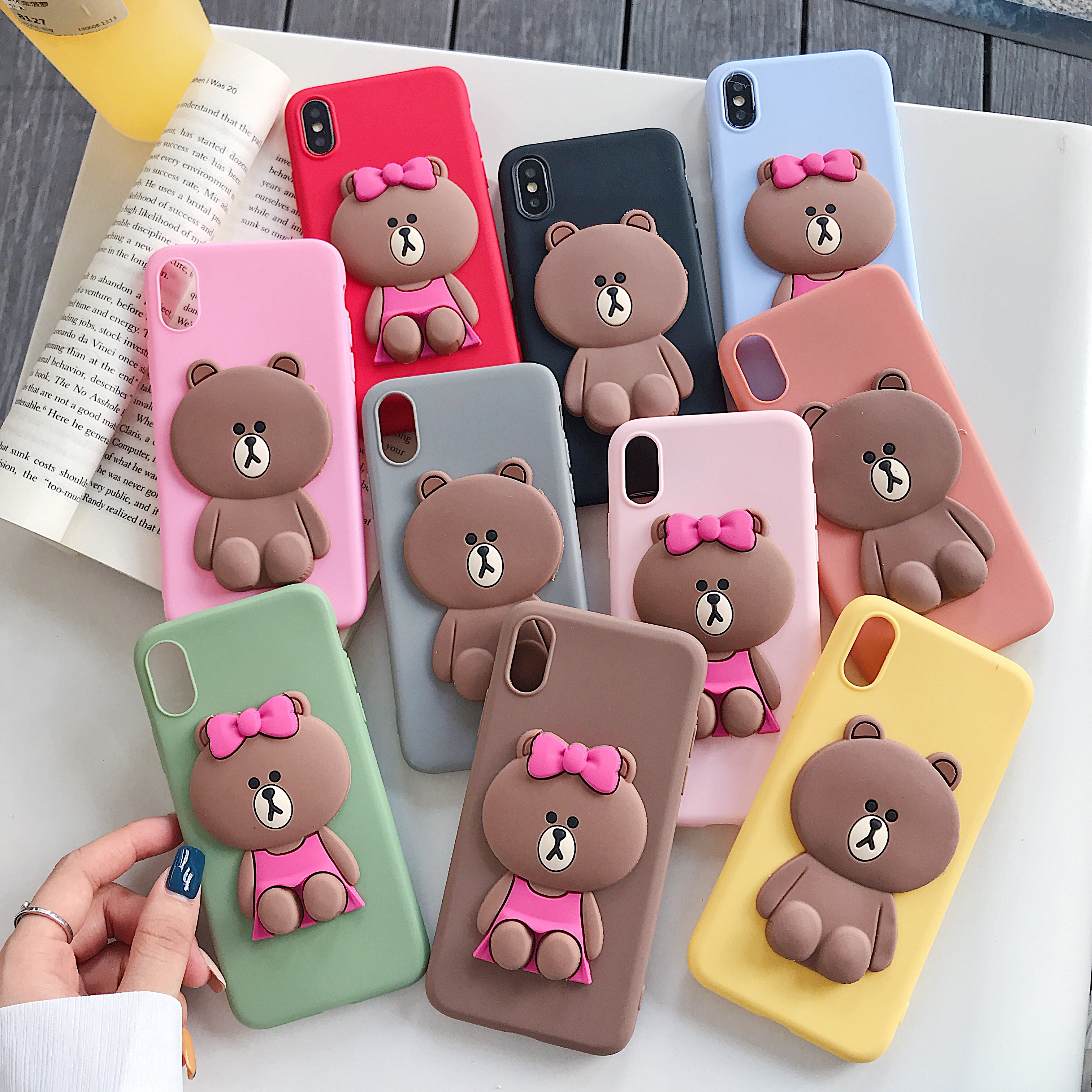 3D cute cartoon Brown Bears silicone protection phone case for iphone X 7 8 plus 6 6s plus soft tpu cover for iphon 11 Xr Xs max