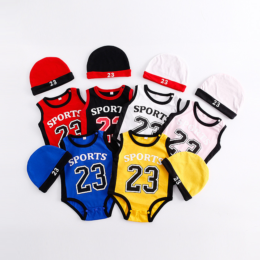 2018 New Hot Sale summer baby boy clothes football sport Newborn Clothing 100%Cotton Romper+Hat 2pcs Outfits Set girls clothes