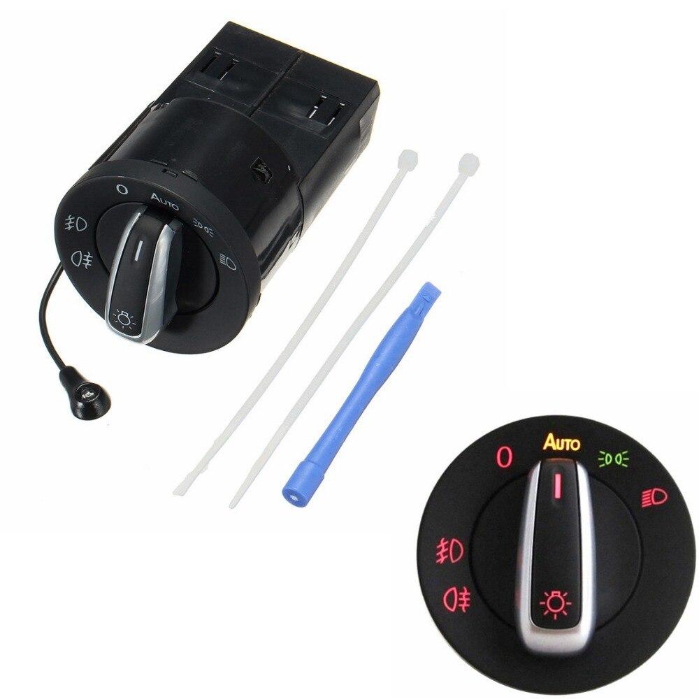 1 Module de commutateur automatique de capteur de lumière de phare de Chrome de voiture avec des outils pour VW Golf Mk4 Passat Polo 1C0 941 531A