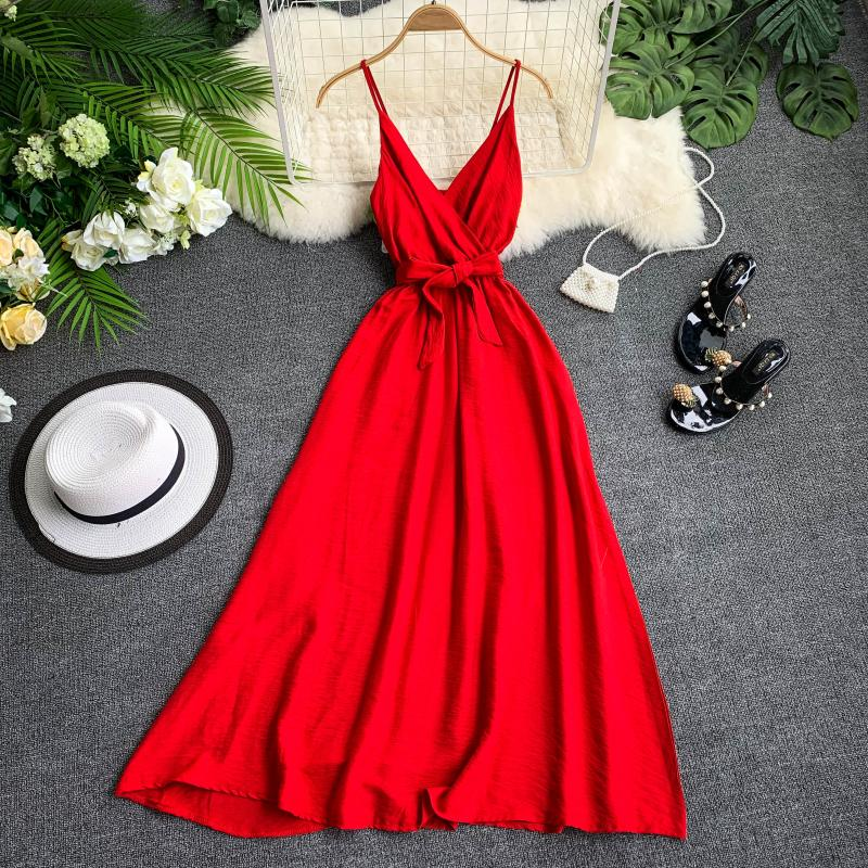 Women Beach Holiday Casual Dress Lady V Neck Sleeveless Backless Sexy Elegant Solid Color Vestidos G882
