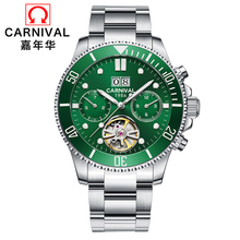 2019 Carnival Switzerland Men Watches Luxury Brand Automatic Mechanical men Watch rotate Waterproof tourbillon Wristwatch reloj цена 2017