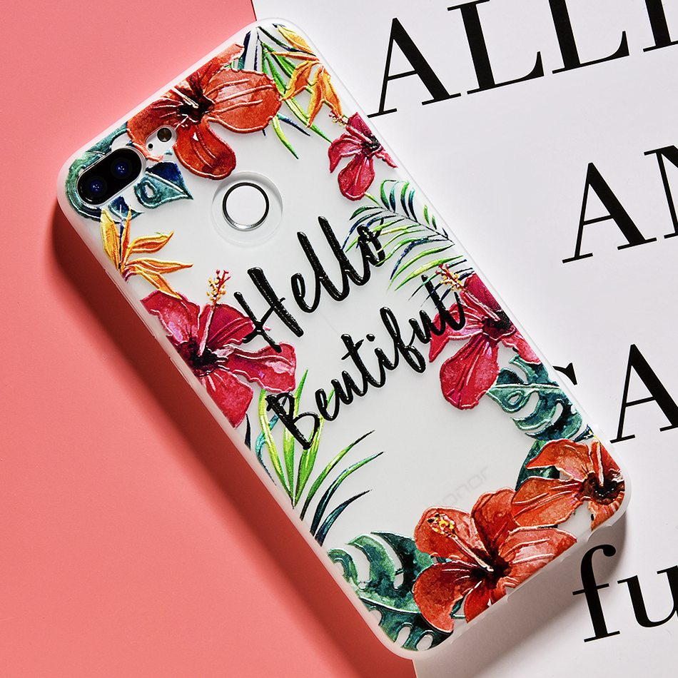 3D Relief Flower TPU Case For On Honor 9 9 lite Soft Silicone Case Back Cover Case for Huawei P20 P10 lite NOVA 2 Case           (22)