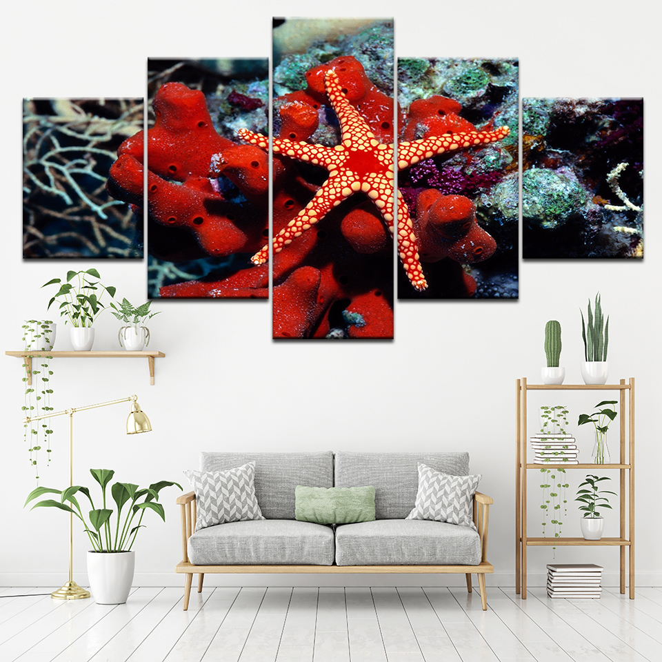 Red Coral Home Decor: Undersea Creatures Red Coral Starfish Wall Art Canvas