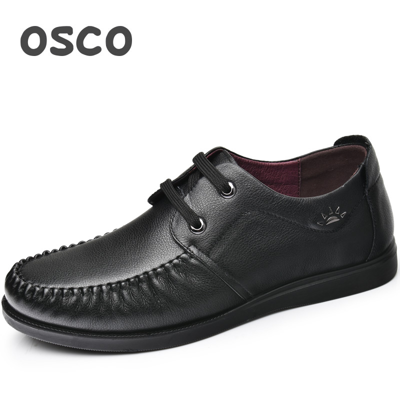 OSCO Loafers Summer Men Shoes Breathable Genuine Leather Soft Bottom Business Casual Shoes Wild Shoes Male Driving Shoes osco spring summer business casual shoes wild lazy shoes british genuine leather breathable bean shoes men driving pedal loafer