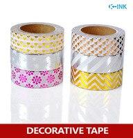 6 Rolls Set Star Stripe Heart Foil Washi Paper Tape Set Flower Hot Stamping Washi Decorative