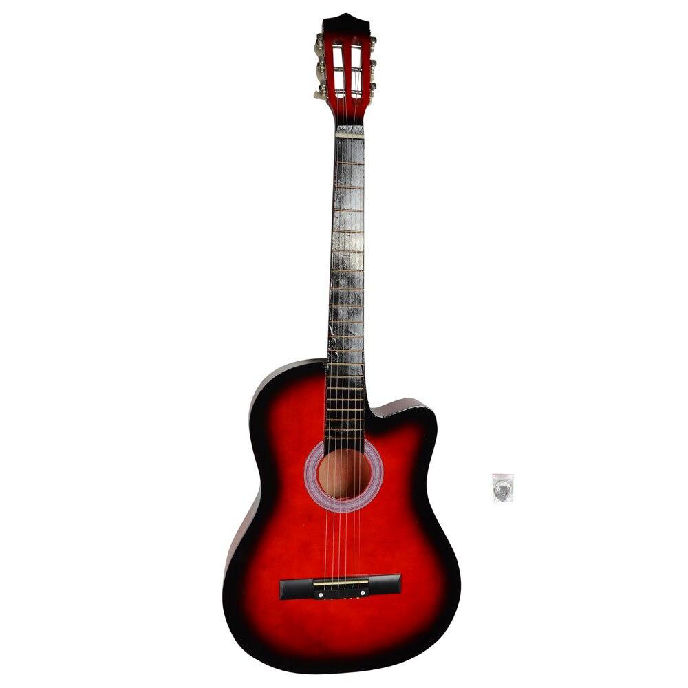 Guitares acoustiques découpées de 38 pouces avec guitare Plectrum guitares classiques acoustiques pour apprenants couleur coucher de soleil rouge-Stocks américains