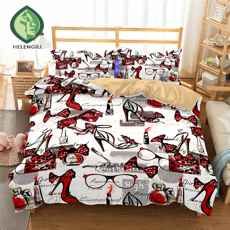 HELENGILI 3D Bedding Set High-heeled shoes Print Duvet cover set lifelike bedclothes with pillowcase bed set home Textiles #2-01HELENGILI 3D Bedding Set High-heeled shoes Print Duvet cover set lifelike bedclothes with pillowcase bed set home Textiles #2-01