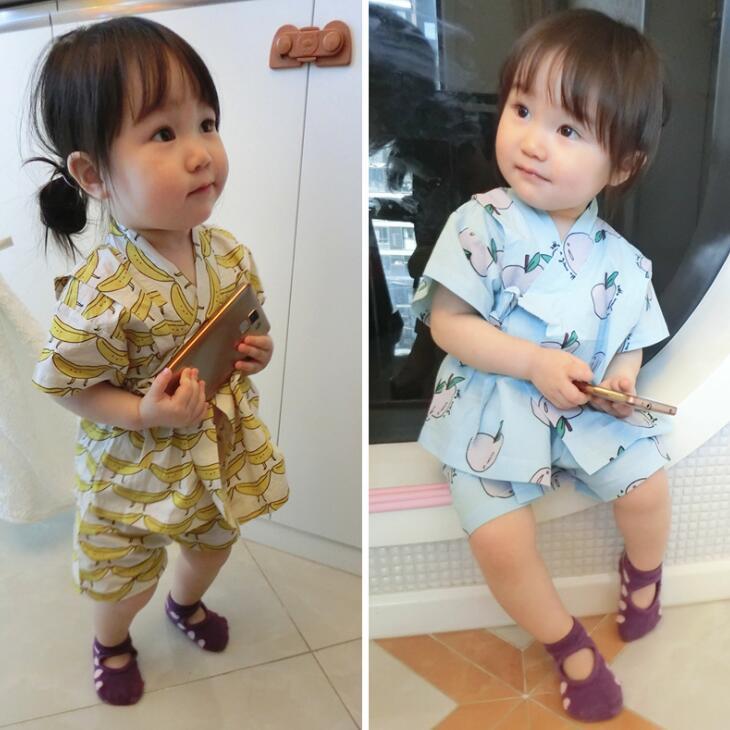 Новое поступление комплект детской одежды яблоко и банан обтянутый детская одежда кимоно Костюмы летняя одежда HNX23