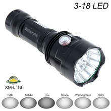 SecurityIng Waterproof LED Flashlight Super Bright 18x XM-L T6 LED 9000Lumens 6 Modes Lamp Support USB charging Outdoor