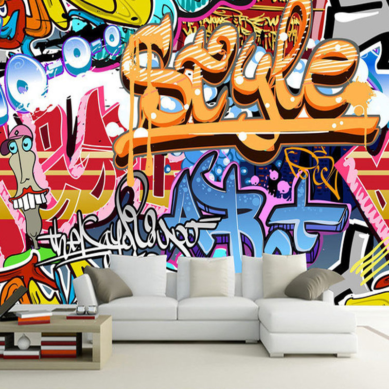 3d Broken Brick Wall Graffiti Cartoon Cars Mural For Restaurant Boys