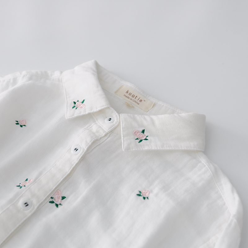 Spring Sweet Rose Embroidery Long Sleeve Cotton Yarn Soft Shirt Blouse