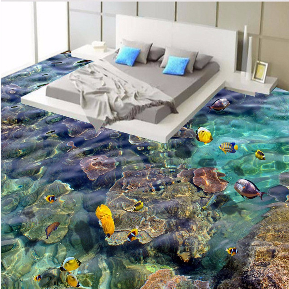 Free Shipping custom tropical fish 3D floor painting waterproof non-slip wear self-adhesive floor wallpaper mural