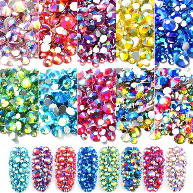 Mixed Size AB Colorful Crystal Nail Art Rhinestones Non Hotfix Flatback  Glass Stones 3d Glitter Decorations 6c1d3361f750