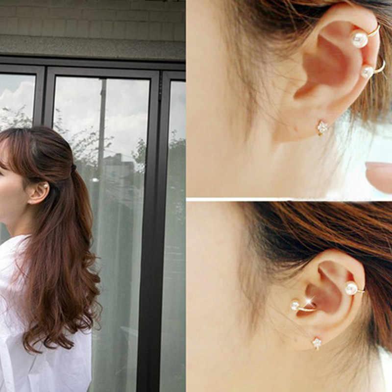 Klips na ucho w kształcie perły klips w kształcie litery U bez dziurki w uchu ukryte kolczyki ED73