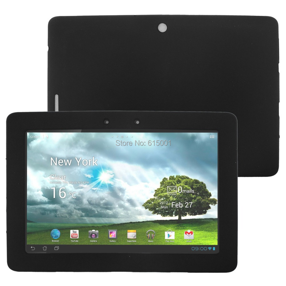 Silicone Skin Cover Case for Asus Eee Pad Transformer TF300 TF300T Tablet with Screen Protector - Black Green White Gray