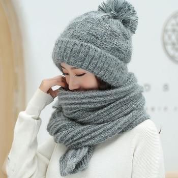 HT2129 Women Winter Set Thick Warm Hat Scarf Set Ladies Winter Accessories Female Wool Beanie Hat Scarf Women Knitted Hat Scarf