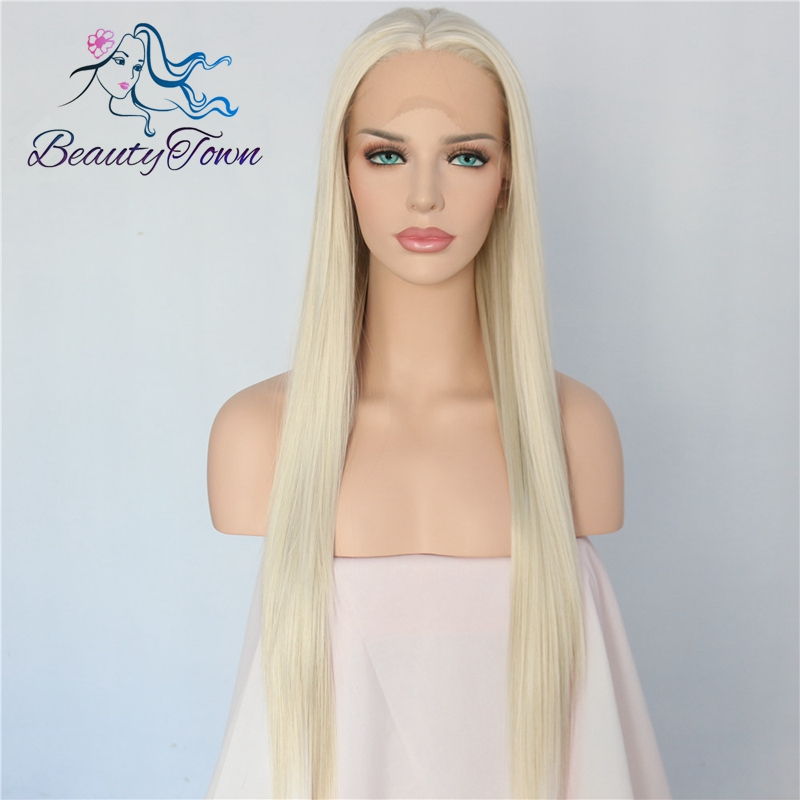 BeautyTown Handmade Light Blonde Natural Long Straight Style Heat Resistant Fashion Blogger Makeup Synthetic Lace Front