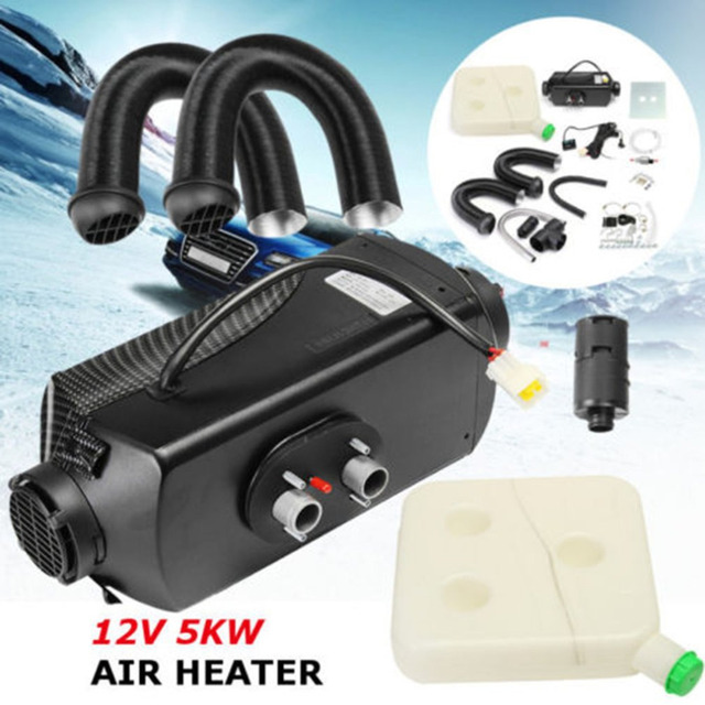 New 5000W 12V Air Diesel Heater With Vent Duct Pipe Low Fuel Consumption Air Parking Heater For Car Trucks Boat