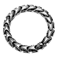 AMGJ Retro Titanium Steel Serpent Bone Links Chain Bracelets Bangle Men S HIP HOP Punk Rock