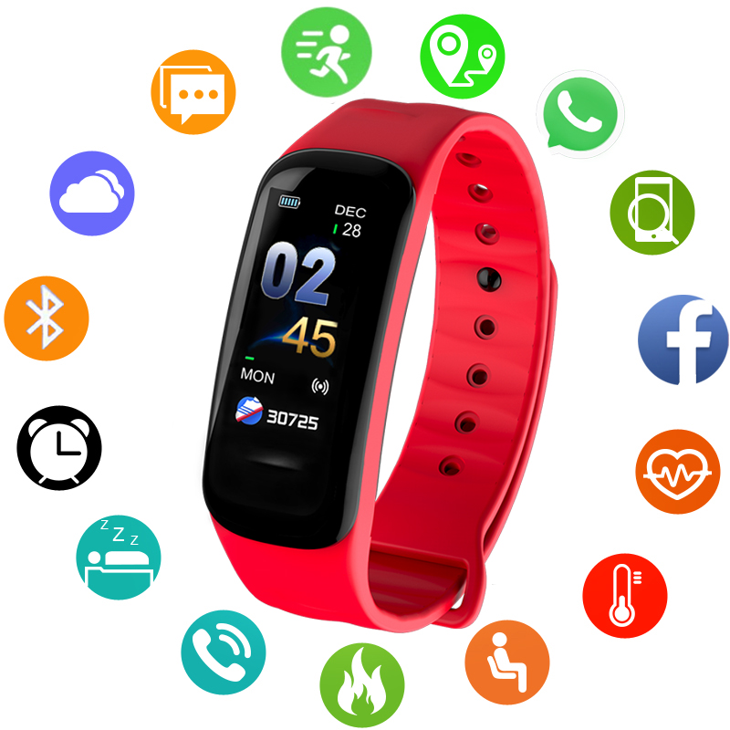 Men's Watches Digital Watches Bangwei New Women Smart Sport Watch Led Color Screen Waterproof Smart Wristband Heart Rate Monitor Watch Vibrate Call Reminder